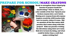 "Getting ready for school?  We have some ""funwork"" for you! Want to upcycle your broken crayons and make a new batch? Put your wounded players back into the game while working on fine motor skills, writing, creativity and following directions:)"