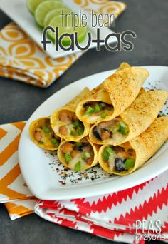 Cheesy Triple Bean Flautas