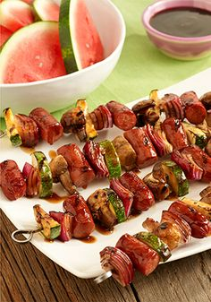 Ready in just 20 minutes time, make dinner special with this easy Hot Dog and Veggie Kabob recipe!