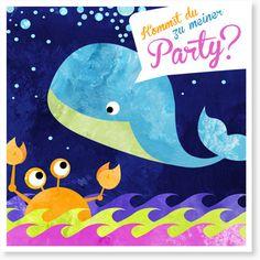 Kindergeburtstag Einladungen - Der kleine Wal feiert eine Party