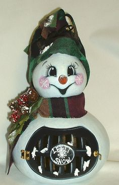 LightUp Gourd Snowman Hand Painted by FromGramsHouse on Etsy, $38.00