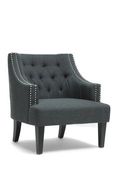 Millicent Linen Arm Chair in Grey.