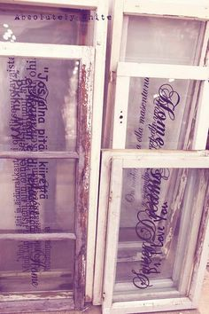 old windows with Finnish phrases