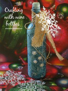 Recycled wine bottle Christmas craft idea. #Debbiedoos