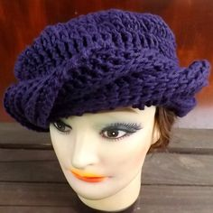 SAMANTHA Crochet Turban Hat in Purple Cotton