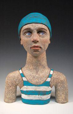 """The Swimmer"" ceramic sculpture"