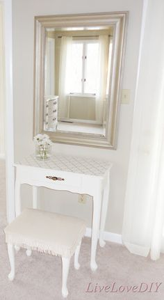 Lattice Stenciled Painted Vanity