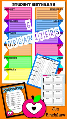 Birthday Organizer for your classroom!  Great forms to keep your student's and teacher friend's birthdays organized.  They can be printed as posters or placed in a teacher's binder. #birthday #organizer