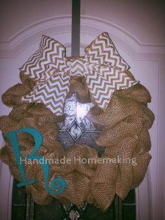 Chevron Burlap Wreath with Monogram!!! Bebe'!!! Love this burlap wreath...so cute and trendy!!!