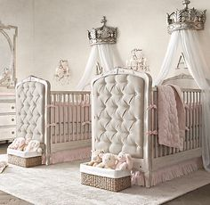 Tufted cribs and crowns for two little princesses.