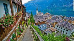 mountains, lakes, beauti town, europ, hallstatt, travel, place, beauti villag, austria