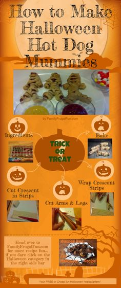 This is a great picture chart for how to make those Halloween Hot Dog Mummies. Kids love them and they're fun to make. Pin now & make it later. Your kids will thank you! Happy hauntings...... ☺