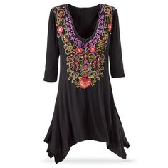 Embroidered Black Tunic - New Age, Spiritual Gifts, Yoga, Wicca, Gothic, Reiki, Celtic, Crystal, Tarot at Pyramid Collection