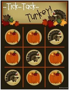 tic tac to turkey theme
