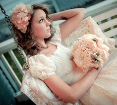 Peach Cotton Fabric Flower Bridal Bouquet  by AutumnandGraceBridal, $350.00