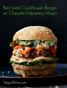 Red Lentil Cauliflower Burger with Chipotle Habanero Mayo, Onion Rings, Roasted peppers. Vegan Recipe | Vegan Richa