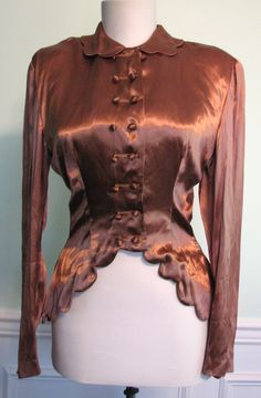 1940s Blouse Young Hollywood Satin Mocha  http://www.rubylane.com/item/615897-6916/1940s-Blouse-Young-Hollywood-Satin-Mocha
