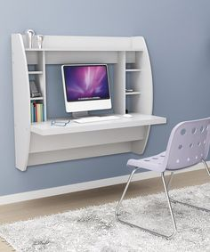White Floating Storage Wall Desk