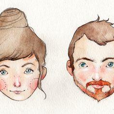 Personalized Mini Watercolor Portrait / Original Art by Danny Brito