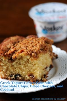 Greek Yogurt Coffee Cake with Chocolate Chips, Dried Cherries, and Coconut