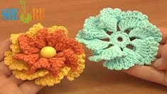 Crochet Two-Layered Flower Free Pattern Tutorial 80 Crochet 3D Flowers  http://sheruknitting.com/videos-about-knitting/crochet-flower-lessons/item/611-crochet-two-layered-flower.html In this crochet flower video tutorial you will see how to make a beautiful one-layer 8-petal flower and then how you can turn this ready flower to a completely different one by crocheting an additional layer of smaller petals.