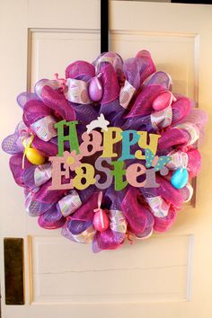 Easter Deco Mesh Wreath - Reduced Price. $53.00, via Etsy.