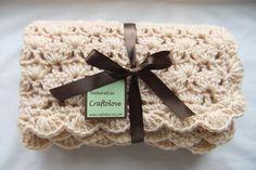 Crochet baby blanket - Baby Boy Blanket - Baby Girl Blanket - Natural Beige Shells Stroller/Travel/Car seat Baby blanket. $36.99, via Etsy.