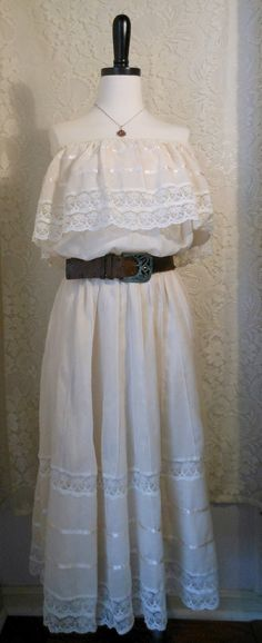 Vintage Romantic Ivory Mexican Dress size by crazycraftchica, $40.00