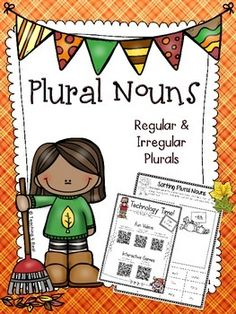 $ Plural Nouns For Fall {Regular & Irregular} Complete with assessments, practice pages, QR Codes linked to videos & games, foldables......