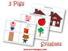 Syllable activity for The Three Little Pigs three little pigs, three pig