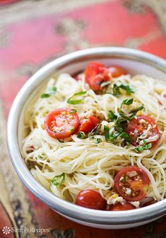 Angel Hair Pasta with Clams, Tomatoes, Basil