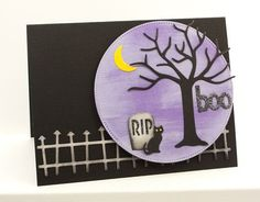 Cheesecloth Background, Spooky Sentiments, Pierced Circle STAX Die-namics, Spooky Scene Die-namics - Lisa Johnson #mftstamps