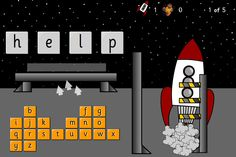 A hangman type activity for high frequency words  Choose a set of high frequency words from the menu or use the Tricky Word presets. Try to find the hidden word before you run out of fuel pods. The rocket will launch when you have found the word.