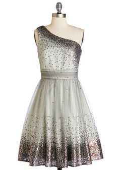 Starlight Hearted Dress in Mint - Special Occasion, Prom, Exclusives, Variation, Mid-length, Woven, Silver, Mint, Sequins, A-line, One Shoulder, Better