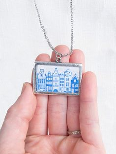 Amsterdam Canal Houses necklace hand painted by SarahLambertCook