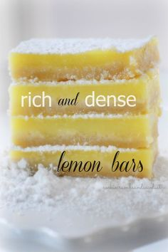 These homemade lemon bars will make you pucker, but they are so good!  #desserts #cookies #lemon Cookie Crumbs & Sawdust: lemon bars