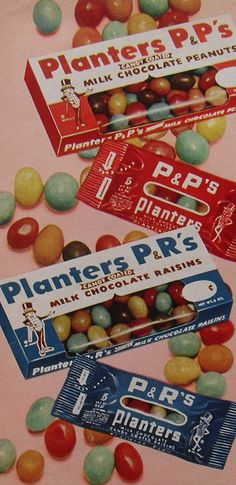 Candy in a box with a cellophane window. It became a noise maker when it was empty.
