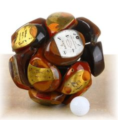 "Original Handcrafted Repurposed Golf Club Heads ""Woods"" Sculpture 8"" Ball Sphere"