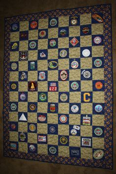 "2012 - ""This is a Scout Quilt I made for Kurt for his Eagle Court of Honor.  I included all his patches from both Cub Scouts and Boy Scouts.  Eleven years of memories!"" (from the quilter) cub scouts, boy scout quilt, boy scouts court of honor, eagl court, eagl scout, eagle court of honor ideas, scout court, boy scout patch quilt, boy scouts ideas"
