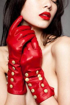 red lips and leather gloves