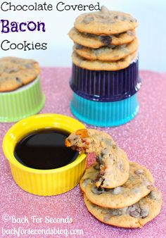 Chocolate Covered Bacon Cookies with maple and toffee! http://backforsecondsblog.com #recipe #cookie #bacon