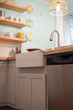 IKEA farmhouse sink, butcher block countertops, open shelving, DIY pendant lighting