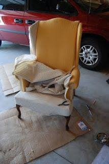 Lemonade and Porch Swings: How to Reupolster a Wingback Chair Part I