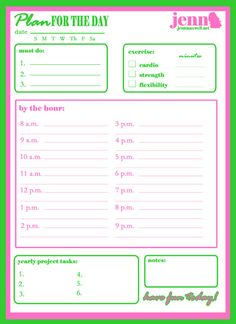 day planner organization, daili planner, day planner free printables