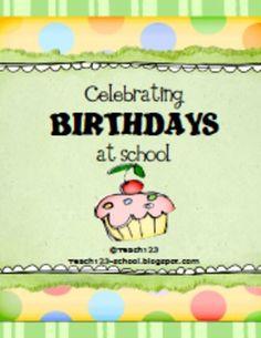 FREE Celebrating Birthdays at School
