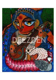 Maa Saraswati Goddess of Knowledge PRINT by Deezden on Etsy, $35.00