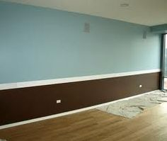 use chair rail to two tone paint a bedroom--bright blue and chocolate for the bedroom :)