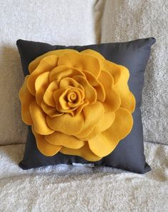 Rose Pillow Mustard Yellow on Grey 14 X 14 by bedbuggs on Etsy, $31.00