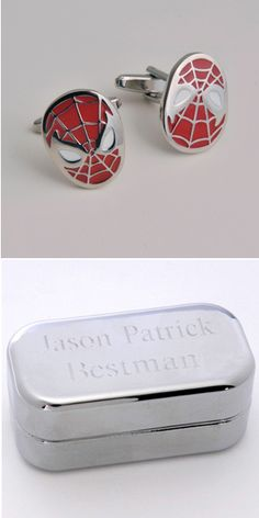 Spiderman Cufflinks with Personalized Case from Wedding Favors Unlimited
