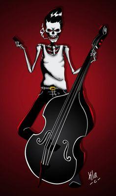 - Rockabilly Bass Artwork - #music #artwork #rockabilly #bass #art #skeleton #musicart www.pinterest.com/TheHitman14/music-art-%2B/